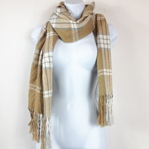 Plaid Checkered Pattern Beige Scarf Shawl